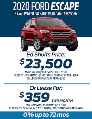 Lease a 2020 Ford Escape for only $359/month