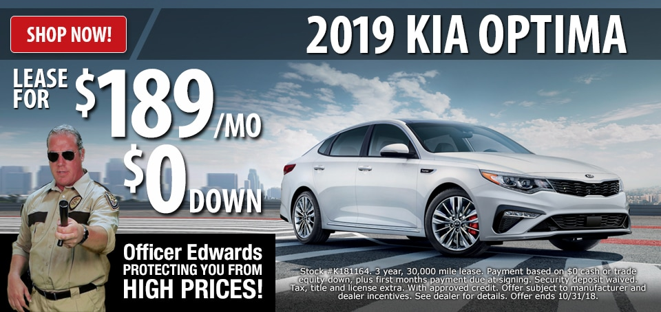 2019 Kia Optima Lease For $189 A Month With $0 Down! *Stock #K181164. 3  Year, 30,000 Mile Lease. Payment Based On $0 Cash Or Trade Equity Down Plus  First ...