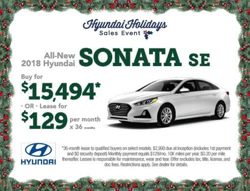 Buy 2018 Sonata $15,494 or Lease for $129