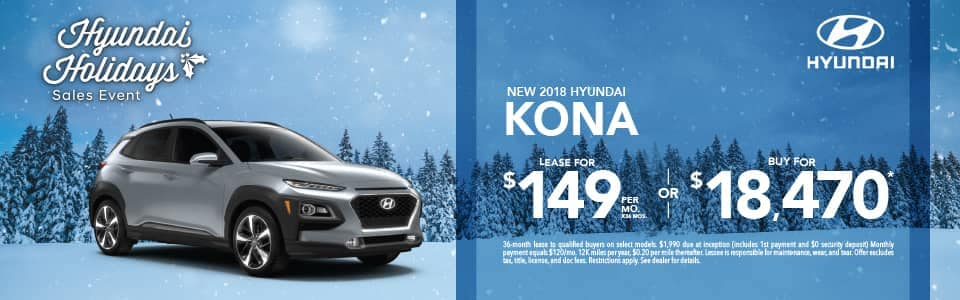 Lease 2018 Kona for $149 or Buy for $18,470