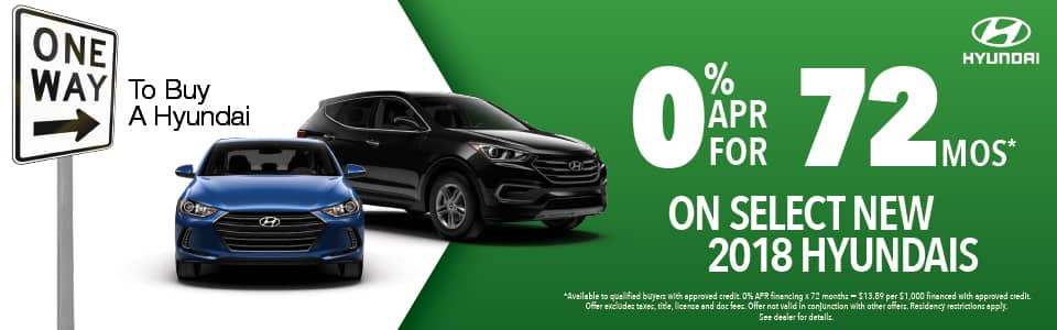 0% APR for 72 months on selects 2018 hyundais
