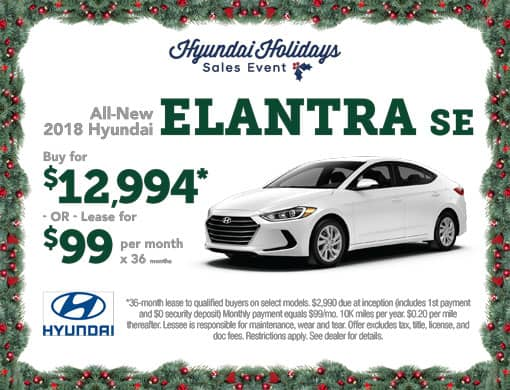 Buy 2018 Elantra for $12,994 or Lease for $99