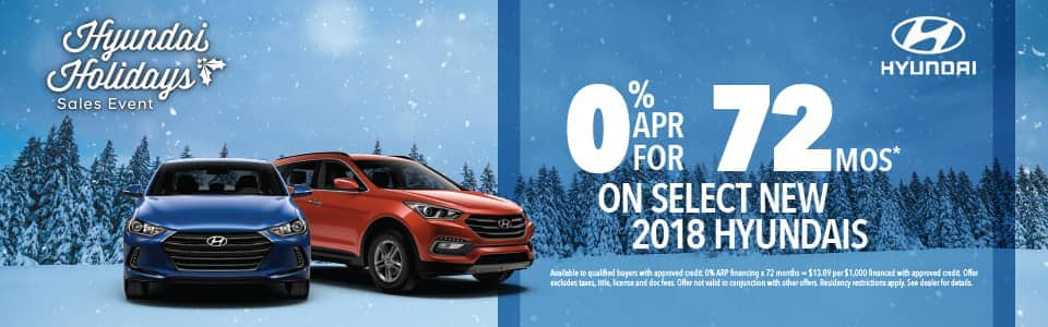 0% APR for 72 months on select 2018 Hyundais