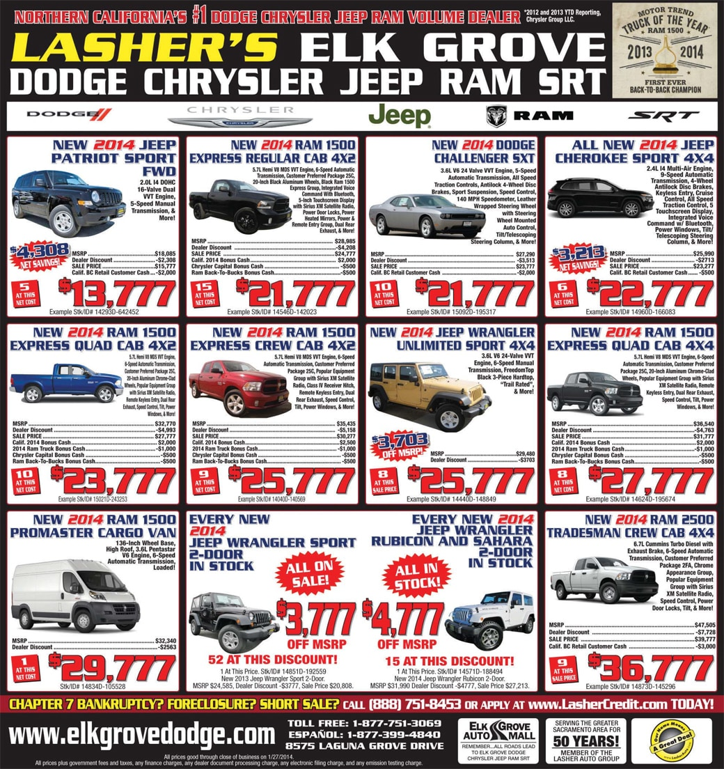 Dodge Ram Jeep Sacramento Bee Ad For Elk Grove Dodge