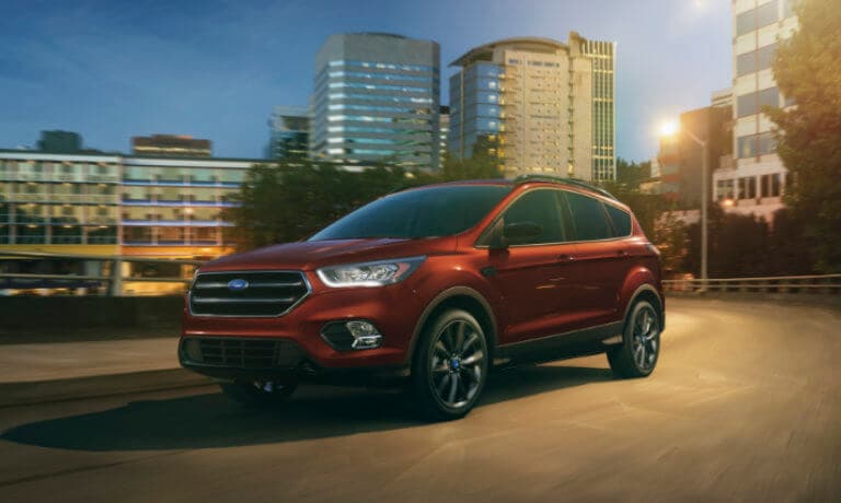 2019 Ford Escape driving at night exterior view