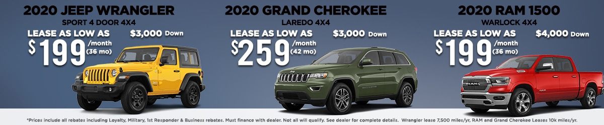 Jeep Wrangler, Jeep Grand Cherokee, and RAM 1500 Lease offers