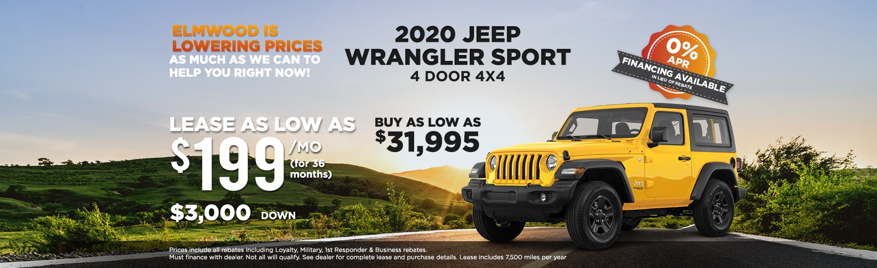 2020 Jeep Wrangler Sport lease deal