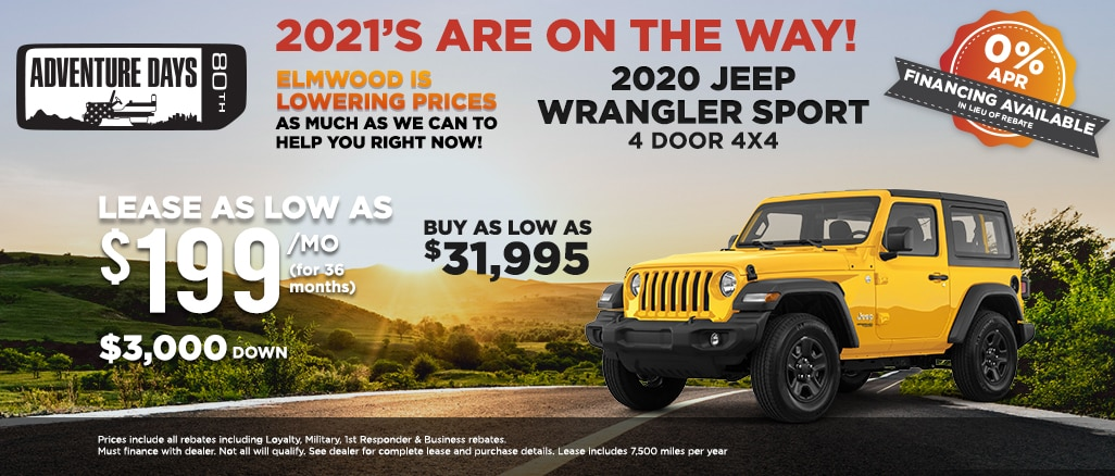 2020 jeep wrangler sport lease offer and buy price