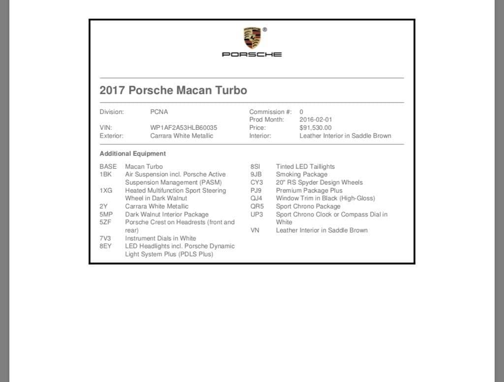 White 2017 Porsche Macan Turbo For Sale