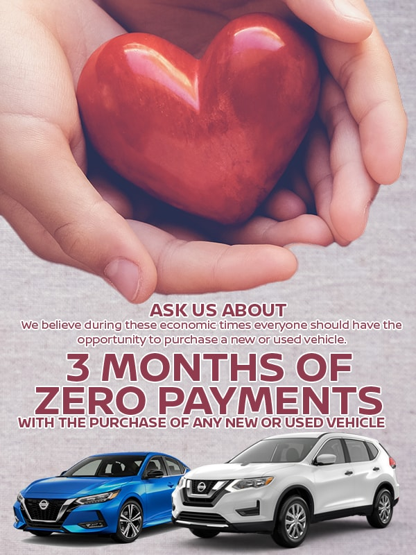 90 days Zero Payments on any Purchase of a New or Used Vehicle.
