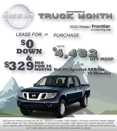 2020 Nissan Frontier Lease and Purchase Specials
