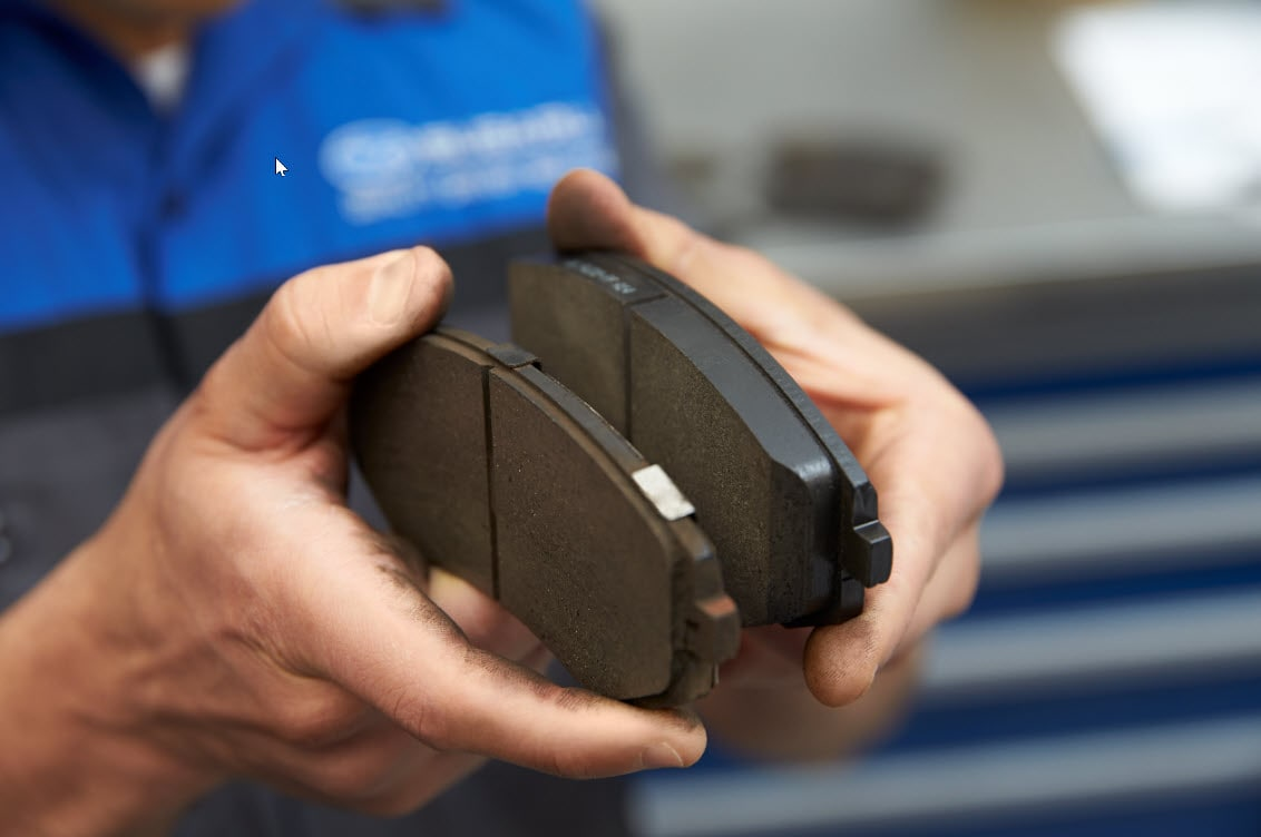 Image of Subaru Brake Pads showing worn break pad versus new