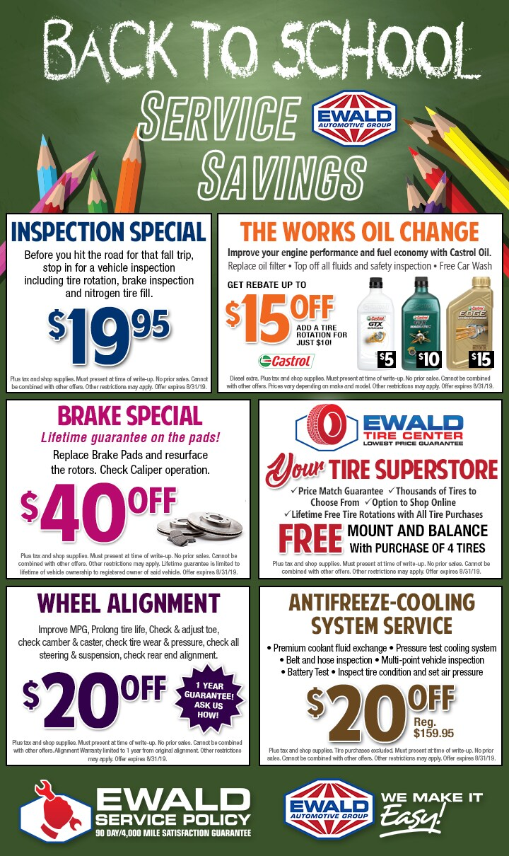Just Brakes Coupons >> Service Parts Coupons Ewald S Hartford Ford Llc
