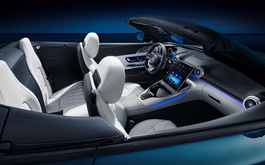2022 Mercedes-AMG SL Interior white blue exterior