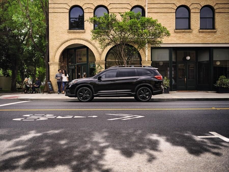 2022 Subaru Ascent Onyx Edition black side profile in town