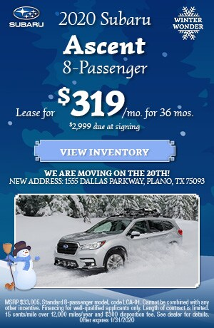 January 2020 Subaru Ascent 8-Passenger Lease Offer