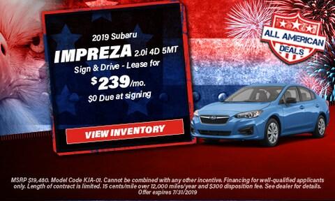 July 2019 Impreza Lease Offer