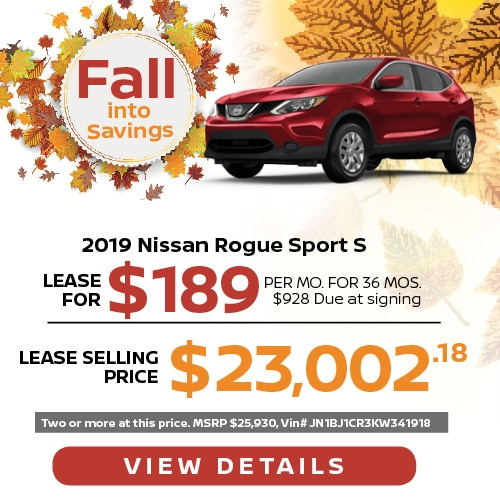 Lease a 2019 Nissan Rogue Sport for $189/mo.