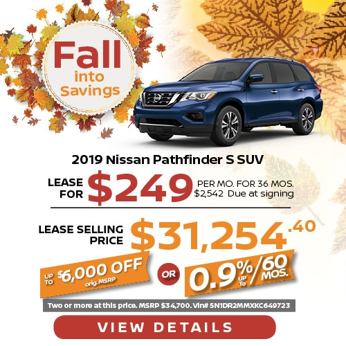 Lease a 2019 Nissan Pathfinder for $249/mo.