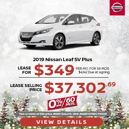 Lease a 2019 Nissan Leaf SV for $349/mo.