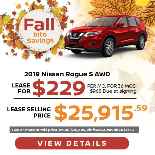 Lease a 2019 Nissan Rogue for $229/mo.