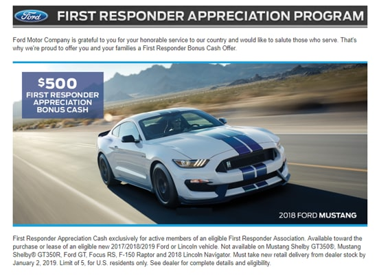 Ford First Responder >> Ford Military First Responder Discount Programs Ford Lincoln