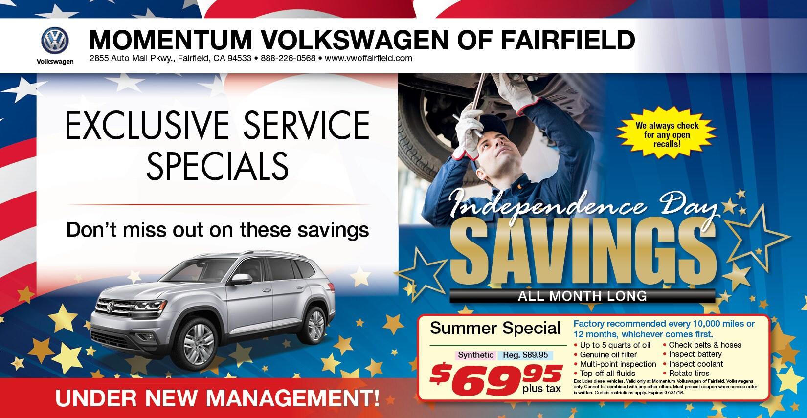 Volkswagen Service Specials   Volkswagen of Fairfield