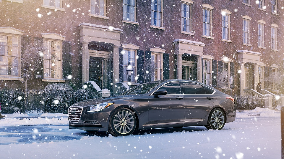 Hyundai Genesis sedan in snow