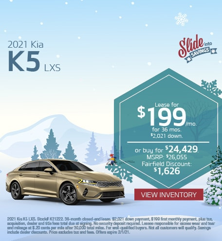 Kia K5 LXS Lease & Purchase Special Offer