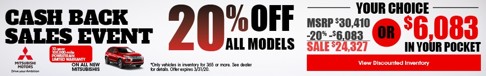 Cash Back Sales Event - 20% Off All Models