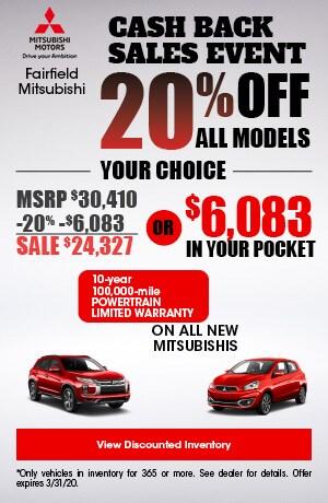 Cash Back Sales Event - 20% Off All Models