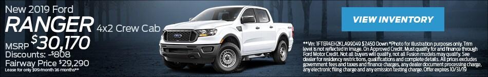 New 2019 Ford Ranger 4x2 Crew Cab