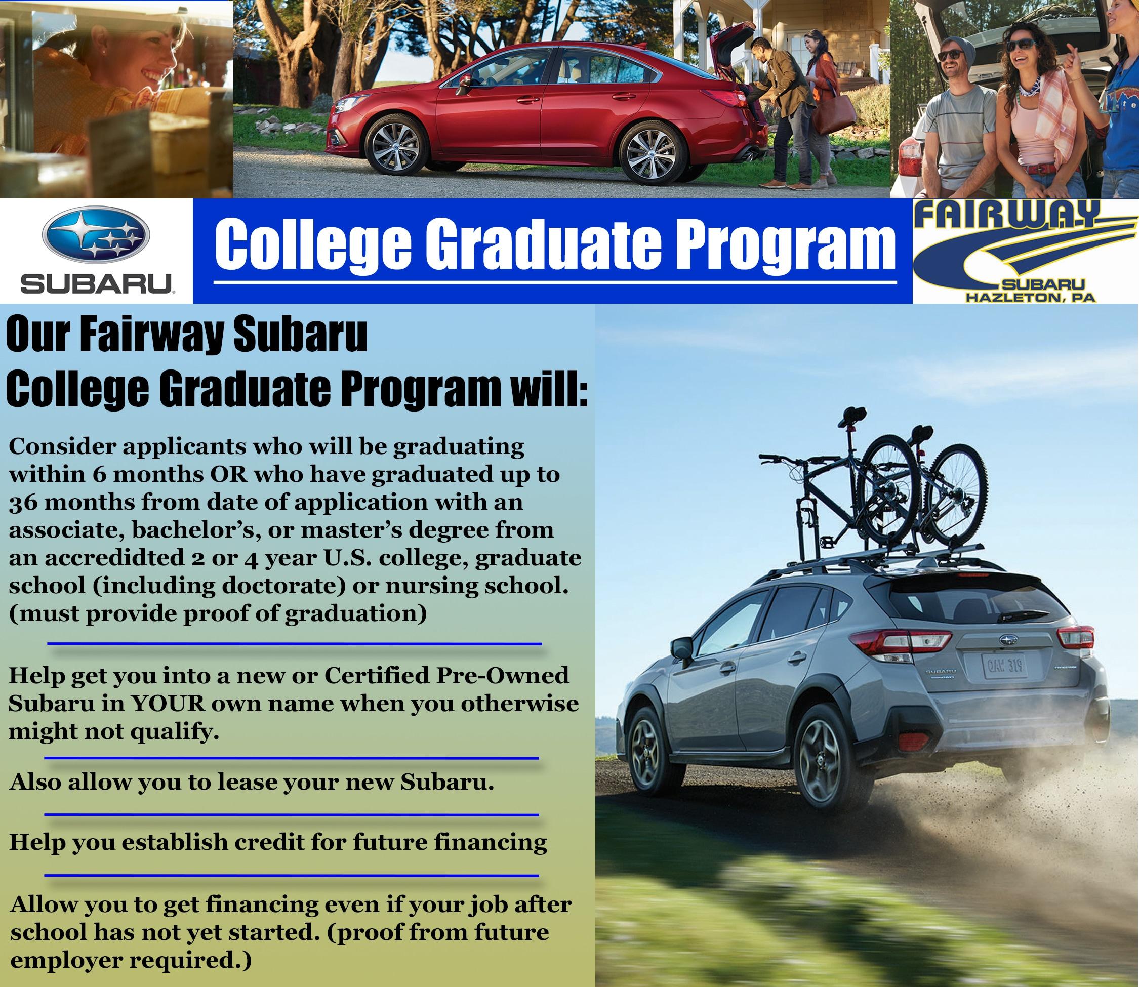 Fairway Subaru New Subaru Dealership In Hazleton PA - Subaru graduate program