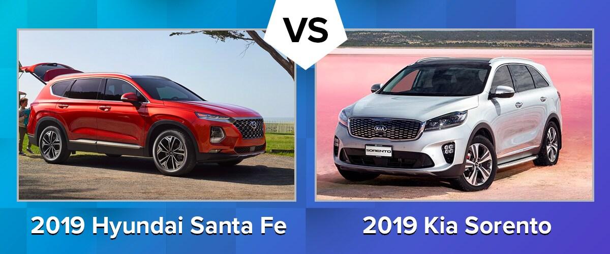 Compare the 2019 Hyundai Santa Fe and 2019 Kia Sorento Chicago IL
