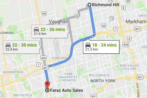 directions to faraz auto sales from richmond hill, on