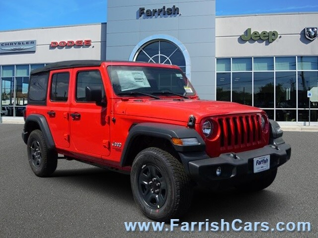 New 2018 Jeep Wrangler UNLIMITED SPORT 4X4 firecracker red exterior tan interior Stock 32445 VI