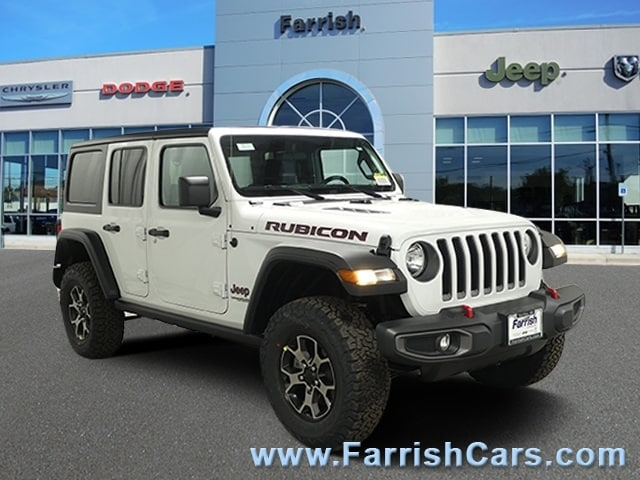 New 2019 Jeep Wrangler UNLIMITED RUBICON 4X4 bright white clearcoat exterior black interior 0 mil