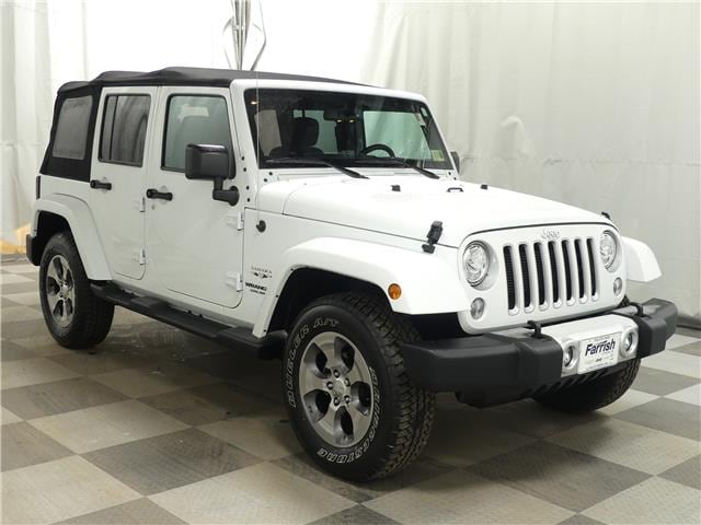 Certified 2017 Jeep Wrangler Unlimited Sahara bright white clearcoat exterior black interior 673