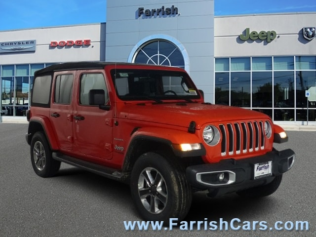 New 2018 Jeep Wrangler UNLIMITED SAHARA 4X4 punkn exterior black interior Stock 33155 VIN 1C4H
