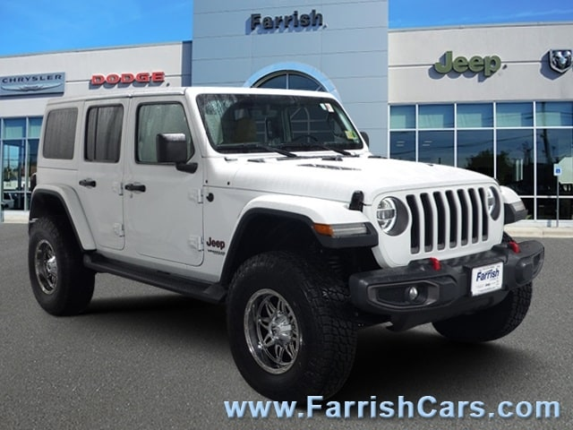 Certified 2018 Jeep Wrangler Unlimited Rubicon bright white clearcoat exterior blackheritage tan