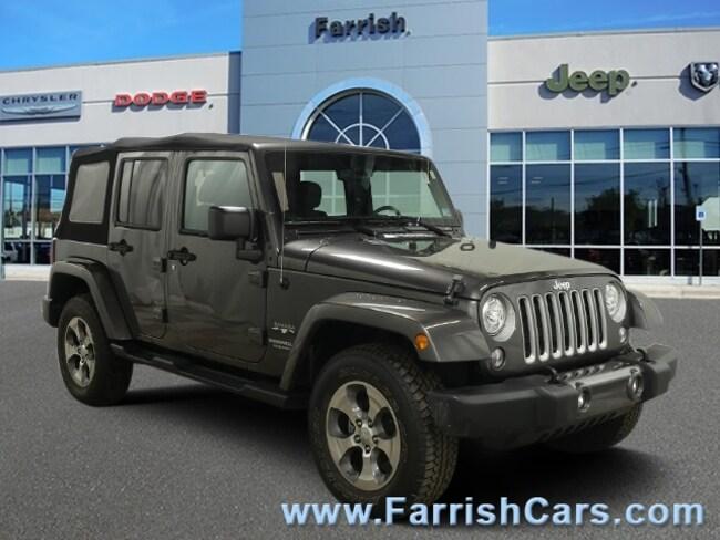 Used 2017 Jeep Wrangler Unlimited Sahara black interior 20462 miles Stock 33575A VIN 1C4BJWEG