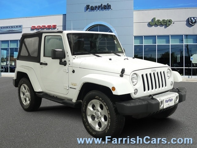 Certified 2015 Jeep Wrangler Sahara bright white clearcoat exterior black interior 46965 miles