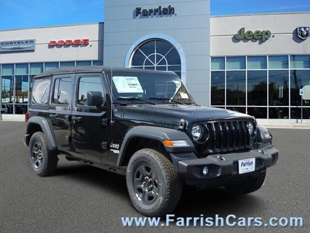 New 2018 Jeep Wrangler UNLIMITED SPORT 4X4 black clearcoat exterior tan interior Stock 32361 VI