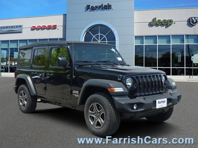 New 2018 Jeep Wrangler UNLIMITED SPORT S 4X4 black clearcoat exterior tan interior Stock 32258