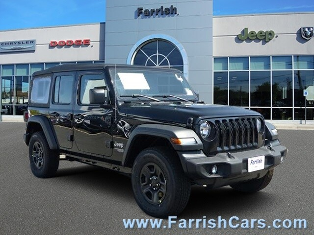 New 2018 Jeep Wrangler UNLIMITED SPORT 4X4 black clearcoat exterior tan interior Stock 32444 VI
