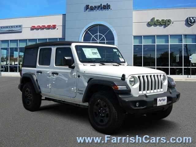 New 2018 Jeep Wrangler UNLIMITED SPORT 4X4 bright white clearcoat exterior tan interior 0 miles