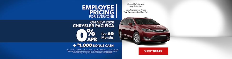 Employee Pricing for Everyone on New 2020 Chrysler Pacifica