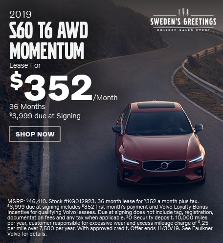 New 2019 Volvo S60 T6 AWD Momentum - November Special