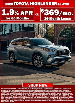 1.9% APR for 60 Months or Lease for $369 per month for 36 months!