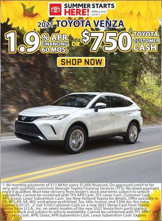 1.9% APR for 60 Months or Receive $750 Customer Cash!